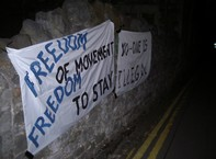 Banners on the morning of the blockade