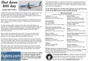 Leaflet produced for initial shut down BMI day