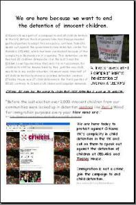 Leaflets were made that called on Citizens UK to speak out against CEDARS